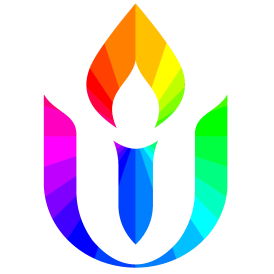 UUA Chalice in rainbow colors